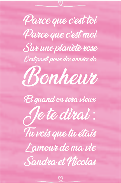 Declaration d'amour tableau personnalise