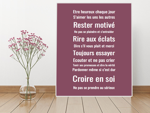 les r gles de la maison tableaux et posters textes. Black Bedroom Furniture Sets. Home Design Ideas